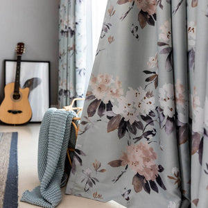 Greenish magnolia curtains bedroom blackout drapes for sale