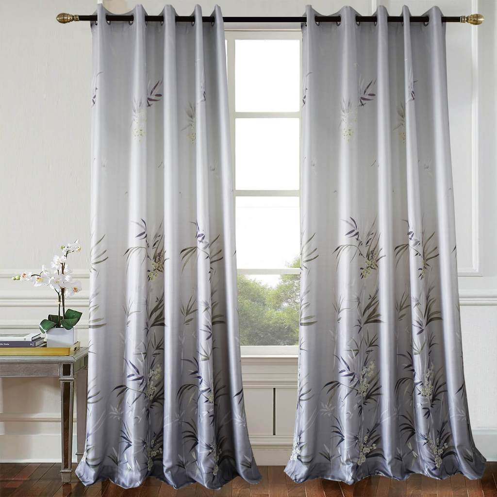 grey bamboo leaf bedroom blackout curtains living room drapes for sale