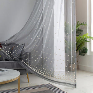 Grey embroidered sheer curtains heart pattern bedroom window sheers