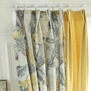 grey leaf pinch pleat drapes yellow decorative bedroom curtains for sale