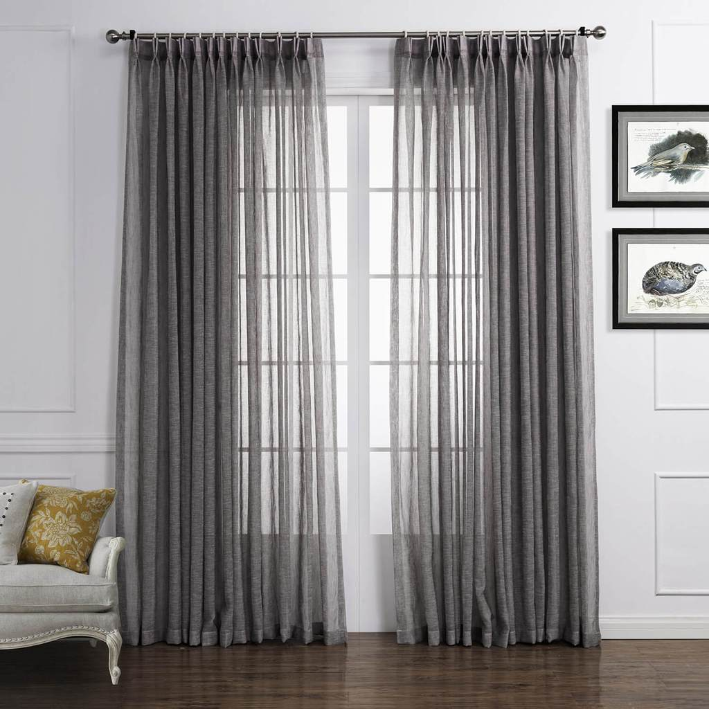 Grey linen sheer drapes for living room gray sheer curtains for sale