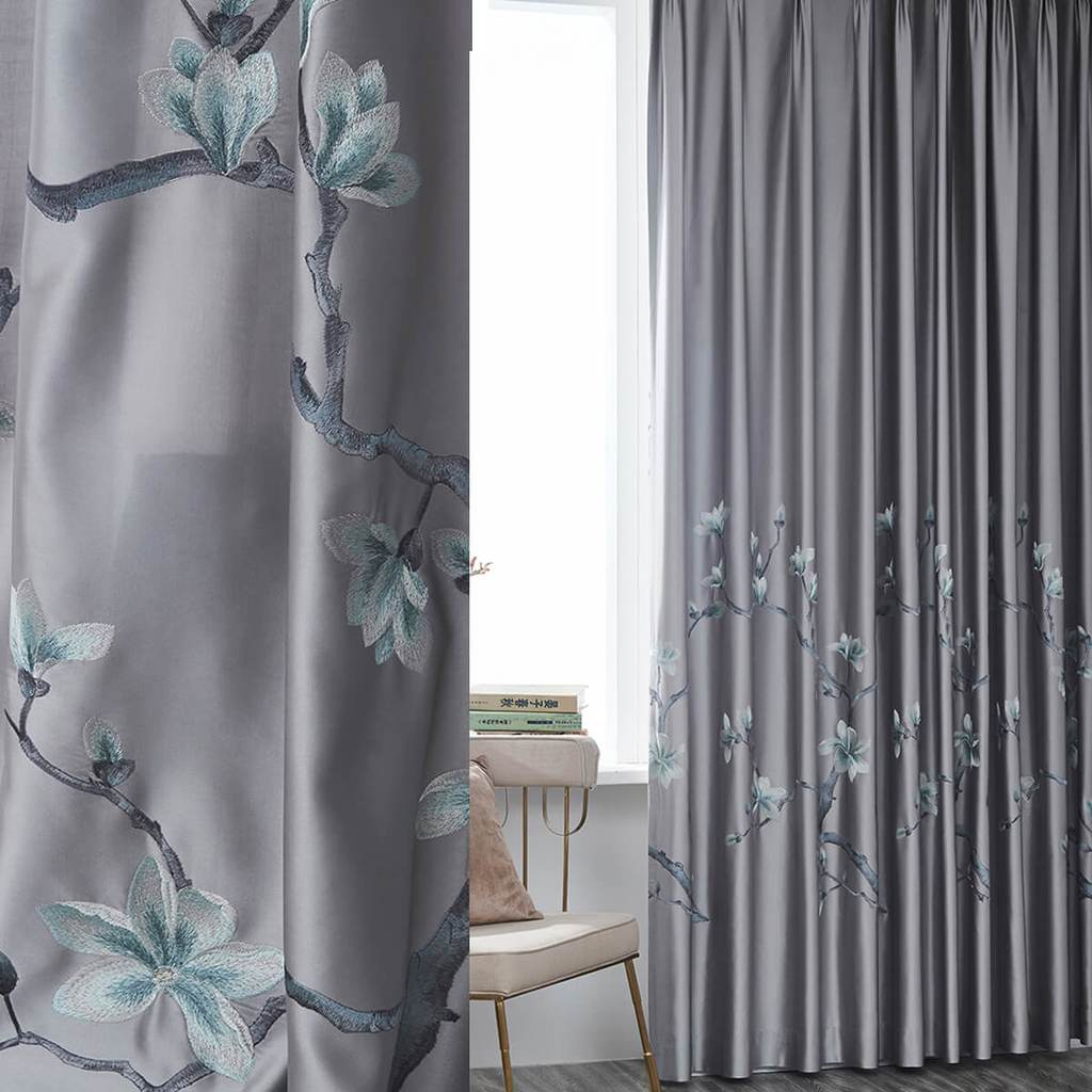 Grey magnolia embroidered curtains gorgeous living room drapes