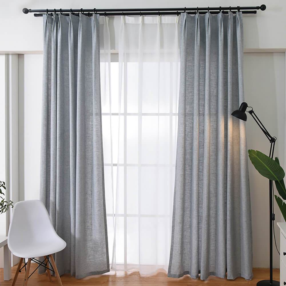 Grey natural linen curtains living room pinch pleat drapes