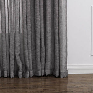 Grey rod pocket sheer curtains linen privacy tulle curtains