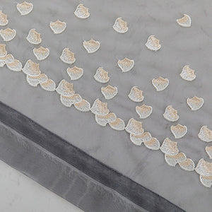 Grey sheer curtain panels heart-shaped embroidered sheer drapes for sale