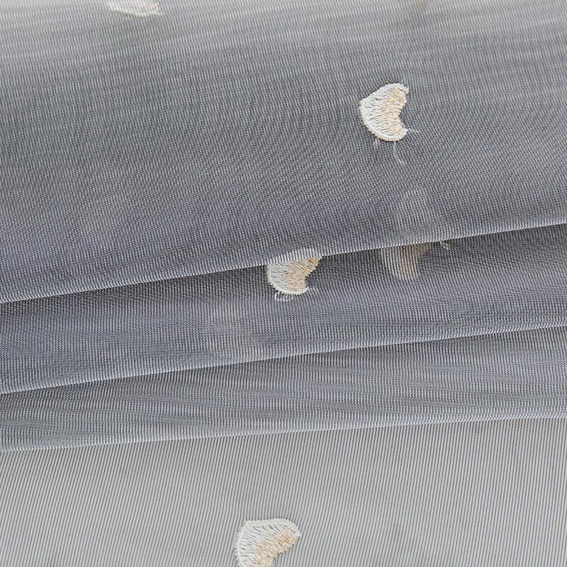 Grey sheer window curtains embroidered privacy tulle curtains