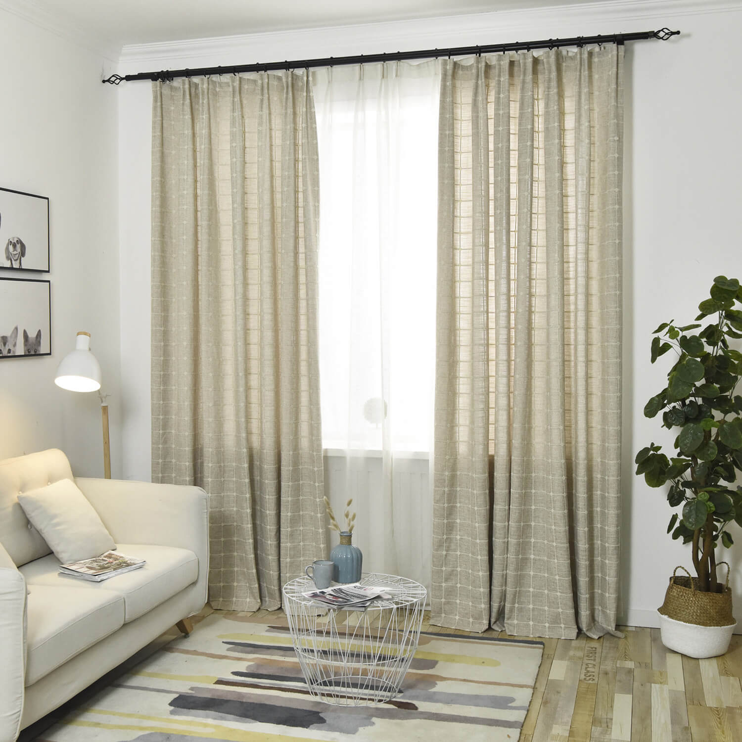Plaid Embroidered Natural Linen Curtains for Living Room