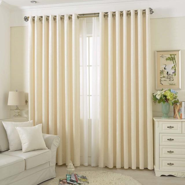 Ivory chenille curtains gommet drapes for bedroom