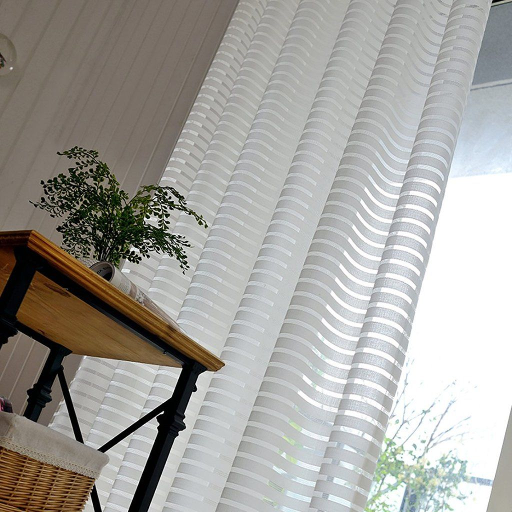 Ivory white striped sheer curtains for living room
