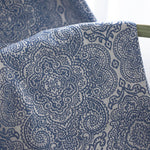 Blue Jacquard Flowers Cotton Linen Curtains for Bedroom 1 Set of 2 Panels - Anady Top Space Design
