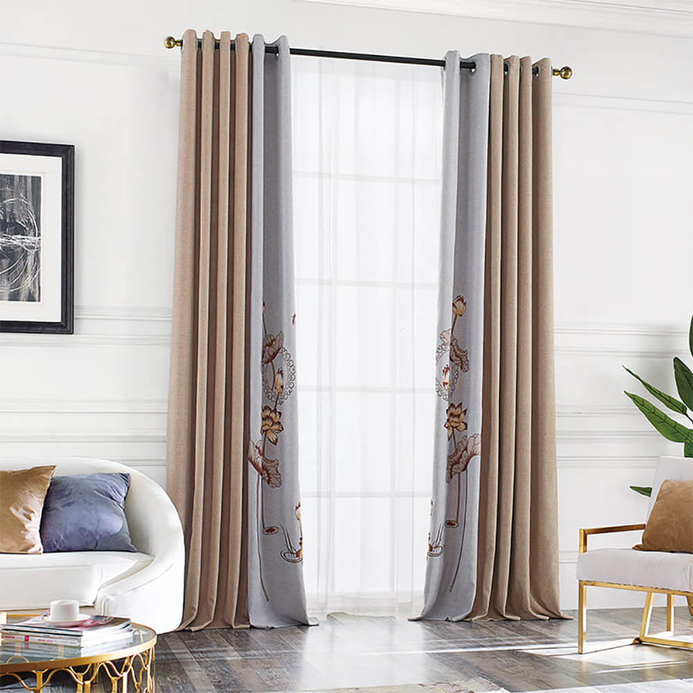Anady Top Kahki Gray Flowers Curtains The Su Embroidery Drapes China Cultural Heritage 1 Set of 2 Panels - Anady Top Space Design