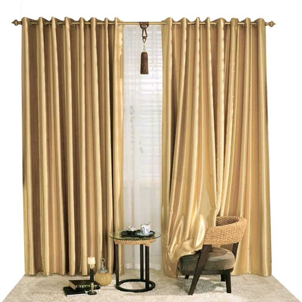 KoTing Gorgeous Gold Blackout Curtains Thermal Insulated Drapes for Bedroom  2 Panels
