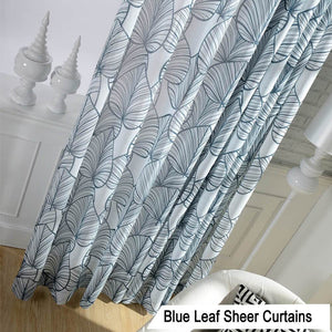Large printed leaf off white sheer curtains for kid room