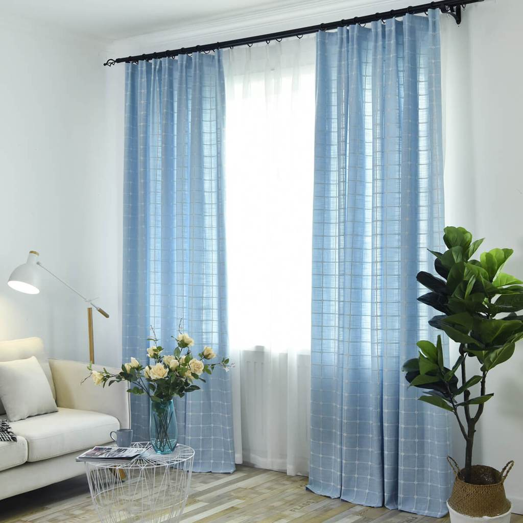 Light blue plaid embroidered living room curtains for sale