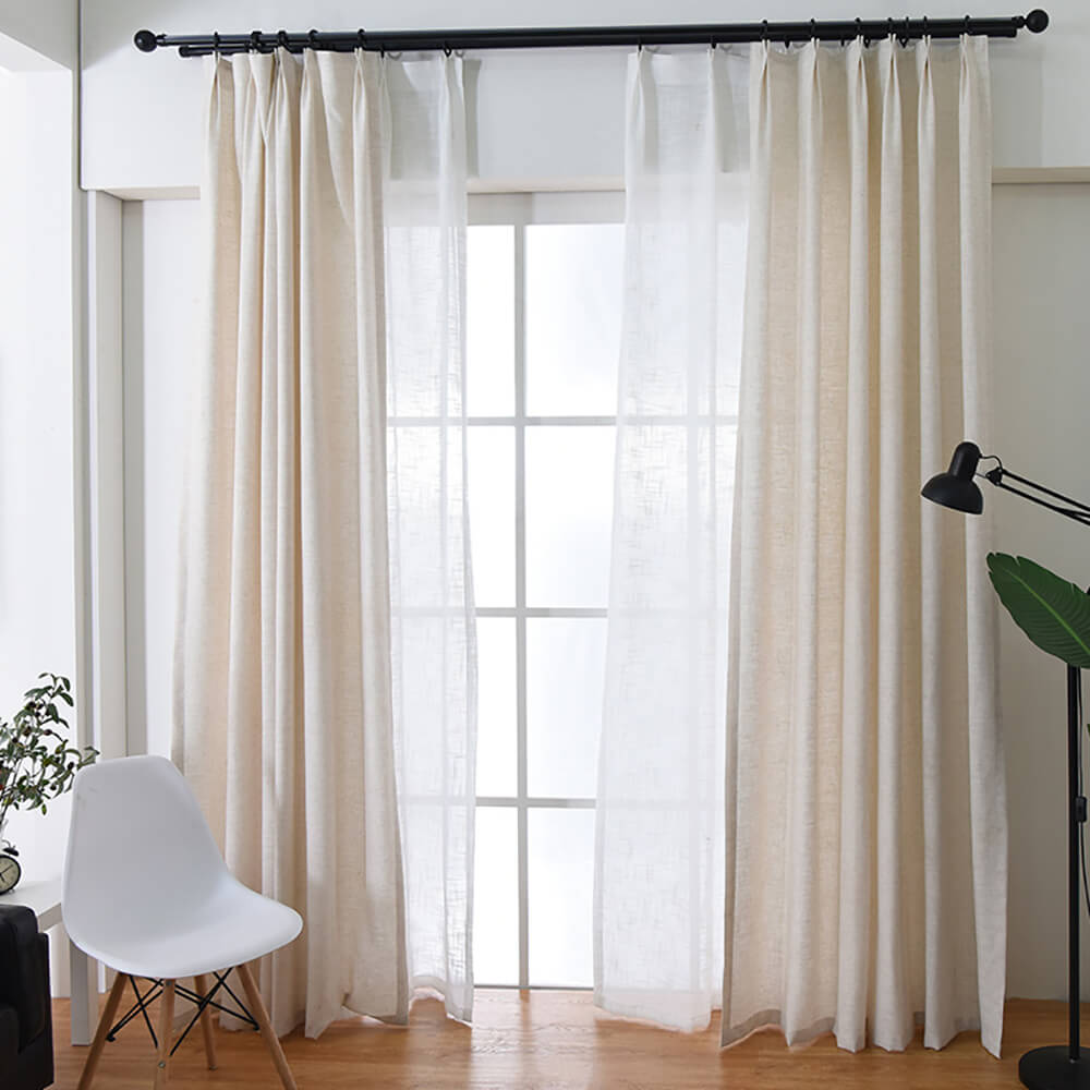 Natural Linen Curtains Drapes for Living Room 2 Panels