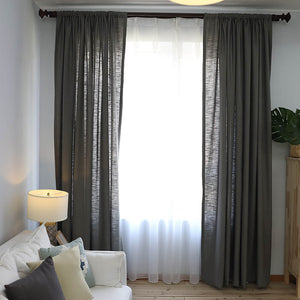 Gray Cotton Linen Curtains for Bedroom 1 Set of 2 Panels - Anady Top Space Design