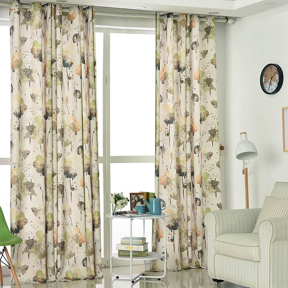 lotus cotton linen curtains living room grommet drapes on sale