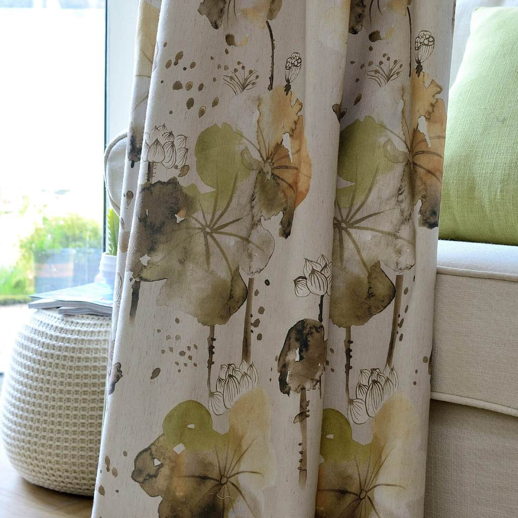 lotus leaf cotton linen curtains bedroom custom drapes for sale