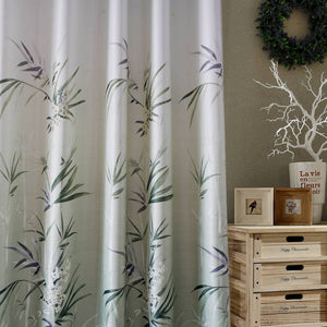 modern bamboo leaf printed curtains insulated pinch pleat drapes