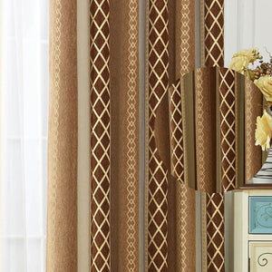 Modern brown and beige patterned curtains insulated door curtains