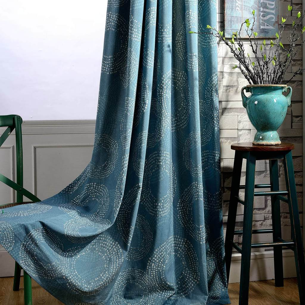 modern custom drapes teal blue geometric kitchen curtains for sale