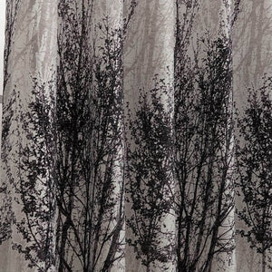 modern elegant birch trees silver drapes thermal insulated curtains