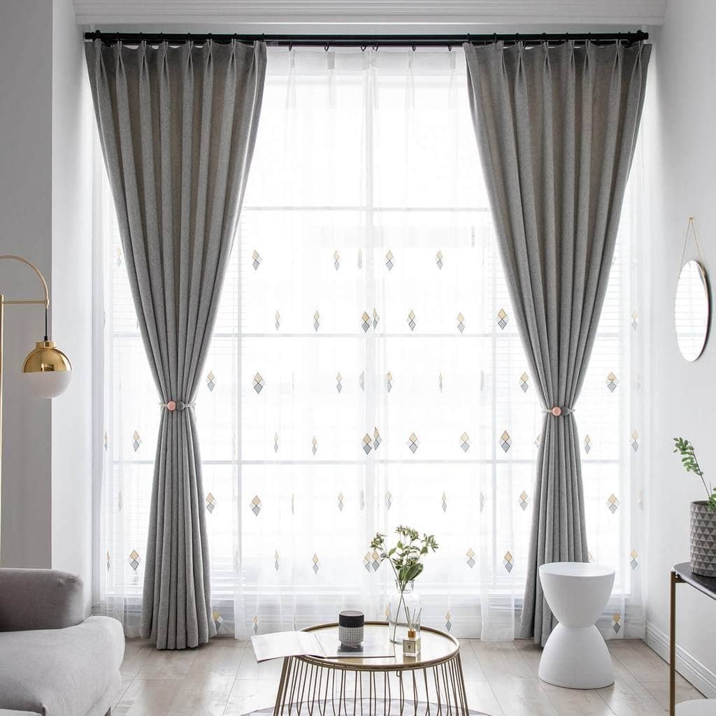 modern grey dining room curtains light blocking pleated drapes for sale
