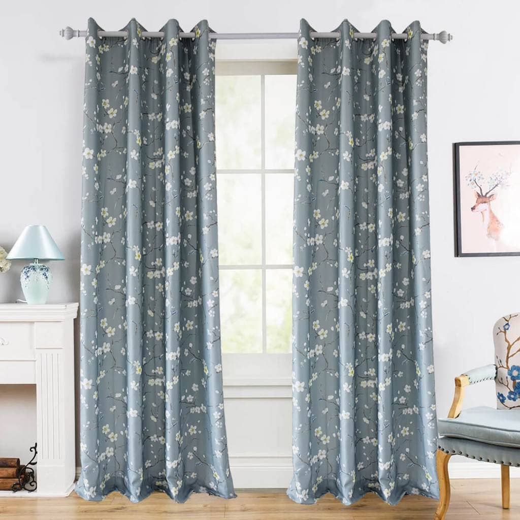 modern pigeon blue window drapes floral living room curtains for sale