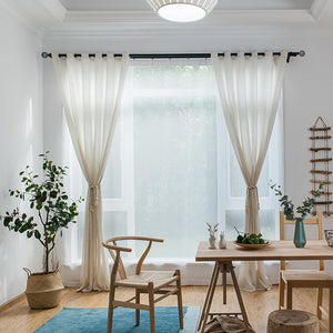 Nature Linen Sheer Curtains for Living Room Cotton Blend Bedroom Voiles 2 Panels - Anady Top Space Design