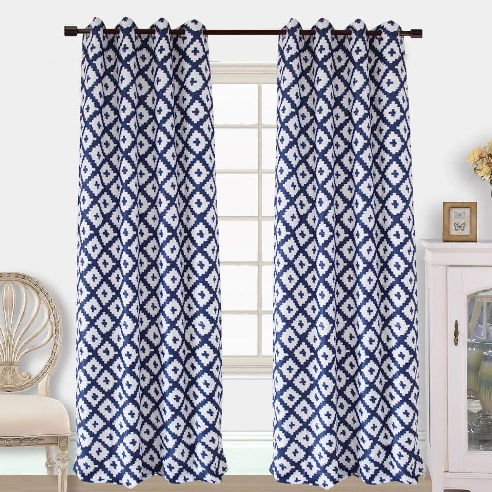 navy and white curtains for sale grommet drapes online