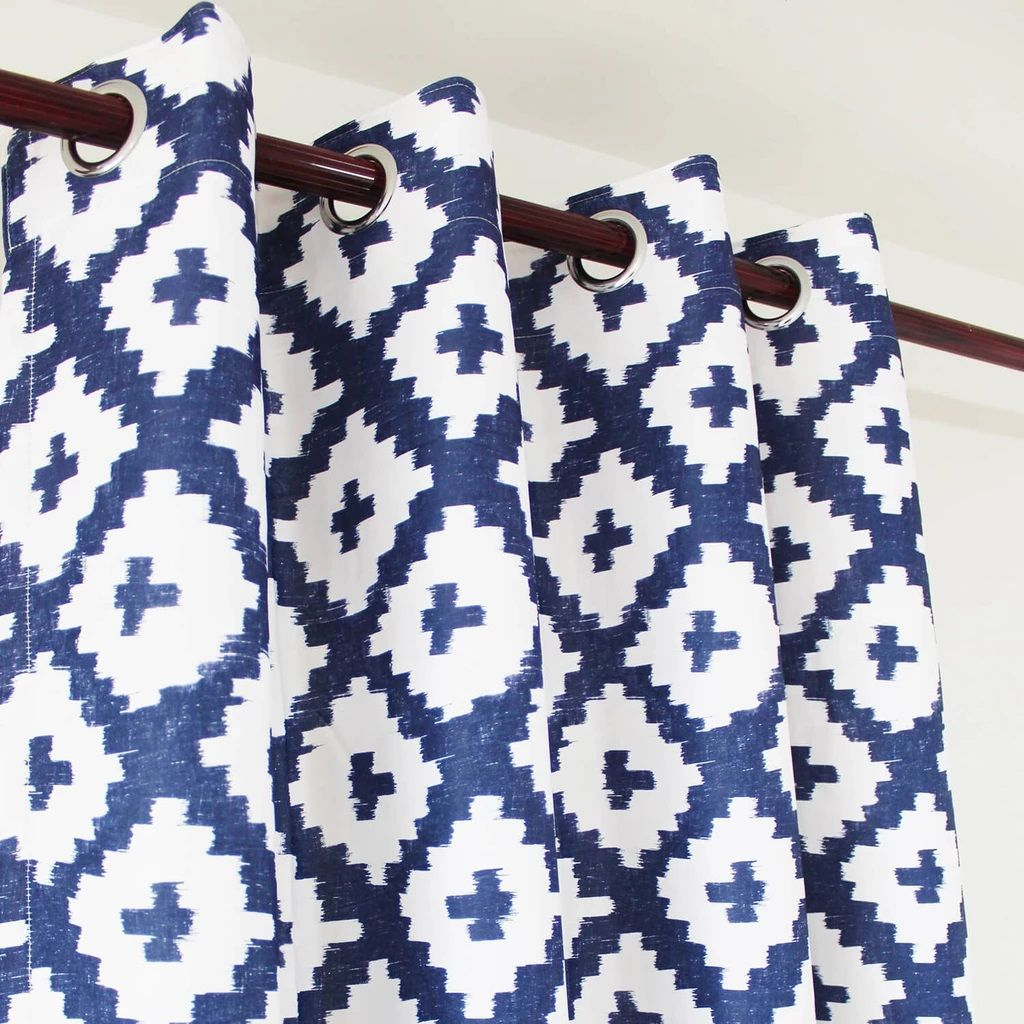 Navy Blue And White Curtains Geometric Drapes For Living Room 2 Panels Anady Top