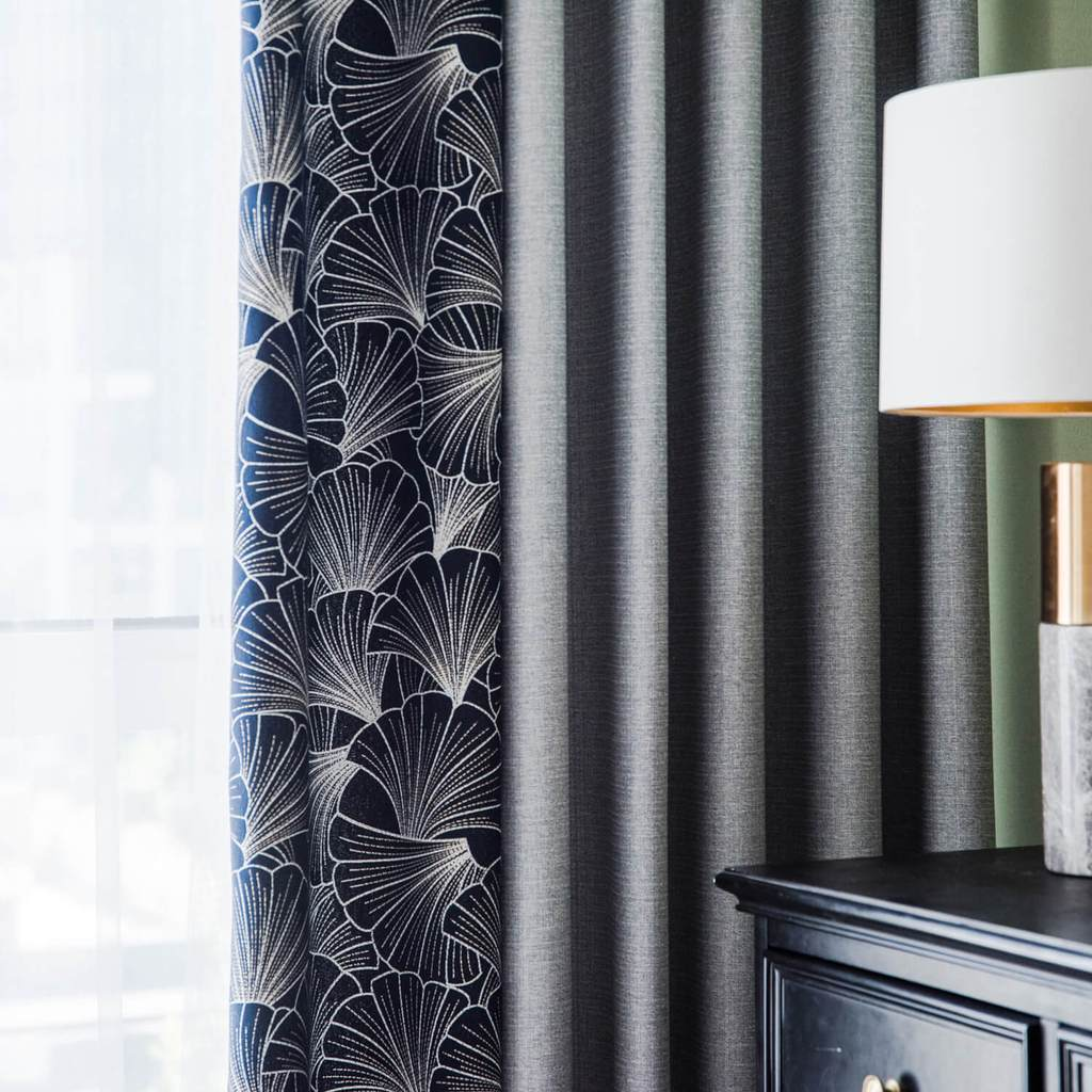 Navy blue leaf curtains gray splicing drapes for sliding glass doors