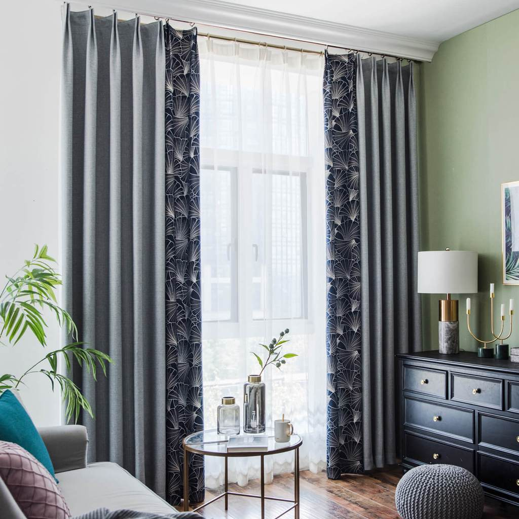 Navy blue leaf gray splicing curtains bedroom blackout drapes for sale
