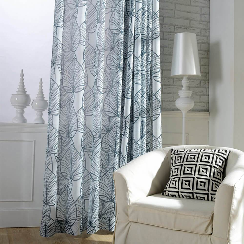Navy blue leaf sheer curtains for living room