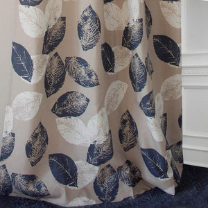 navy blue white leaf curtains bedroom ceiling drapes for sale