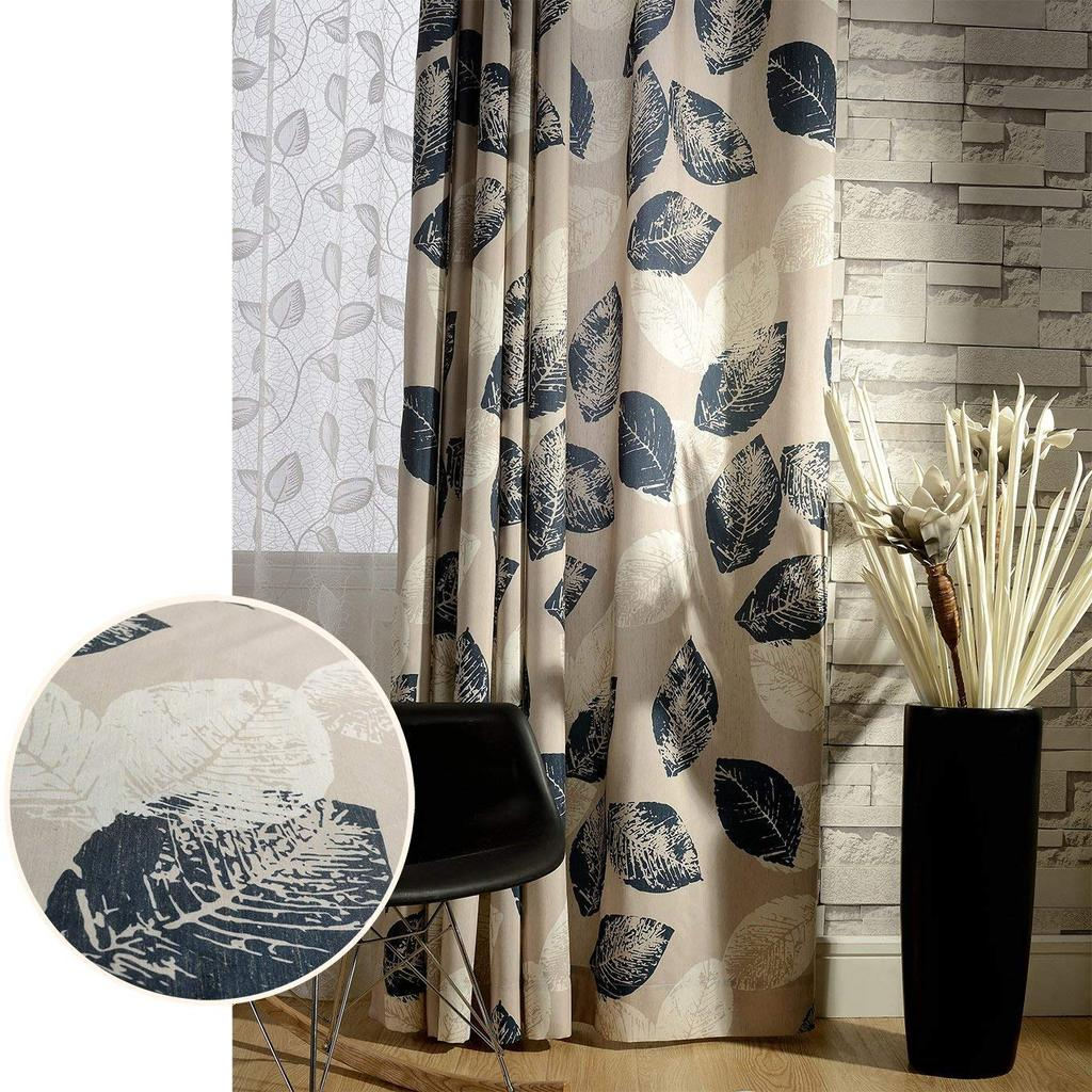 Navy Blue White Leaf Pattern Drapes Blackout Curtains For Sale Anady Top
