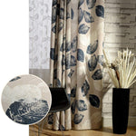 navy blue white leaf pattern drapes blackout curtains for sale