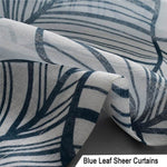Navy leaf privacy sheers off white sheer curtain panels