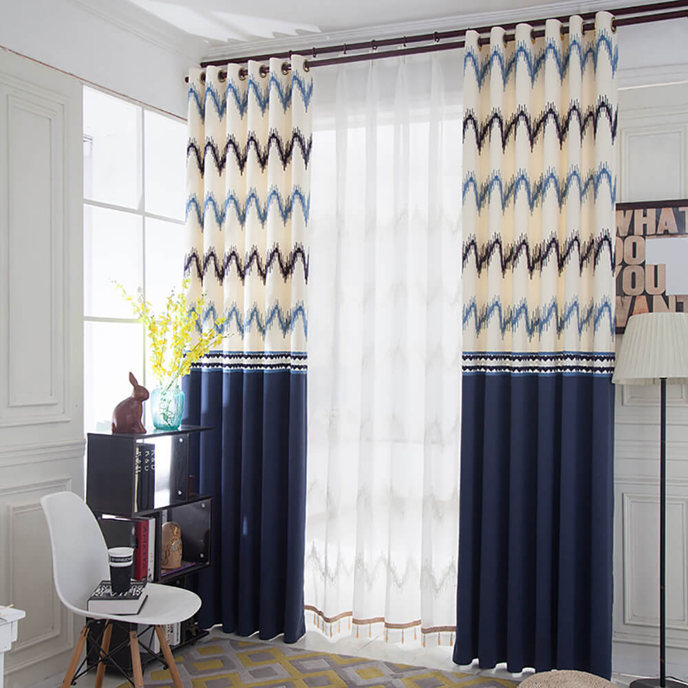 Anady Top Navy Curtains Geometric Drapes for Bedroom 1 Set of 2 Panels - Anady Top Space Design