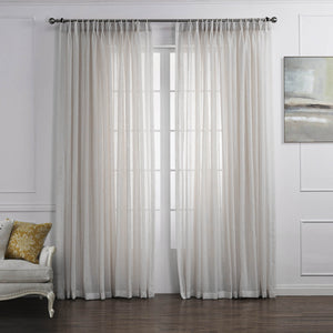Anady Top Off White Linen Sheer Curtains for Living Room 2 Panels - Anady Top Space Design