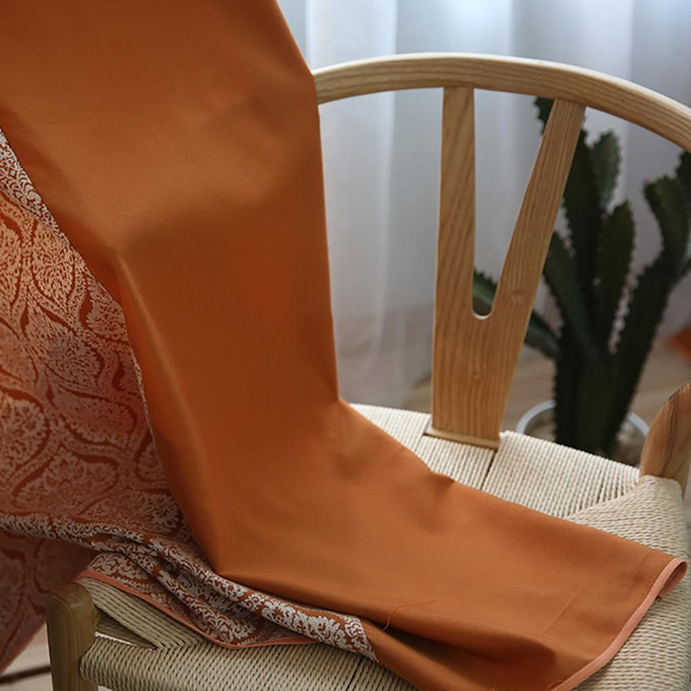Orange polyester curtains blackout drapes room divider curtain
