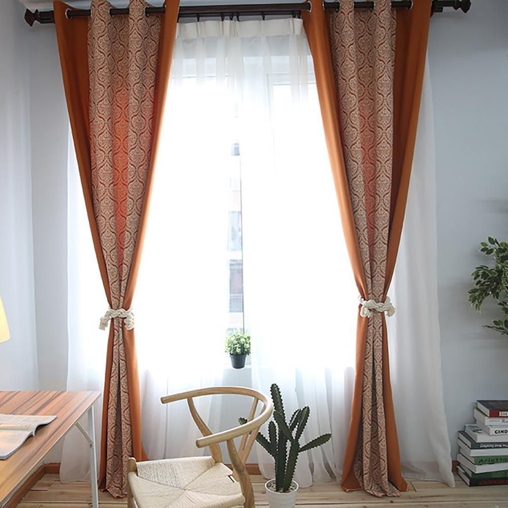 Orange white floral curtains geometric polyester bedroom drapes