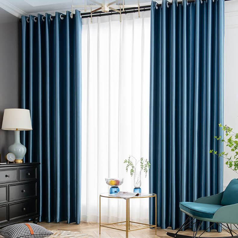 pearl luster blue grommet blockout curtains bedroom thermal drapes for sale