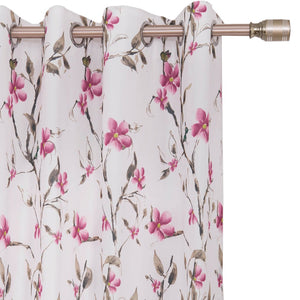 pink floral grommet curtains room darkening ceiling drapes