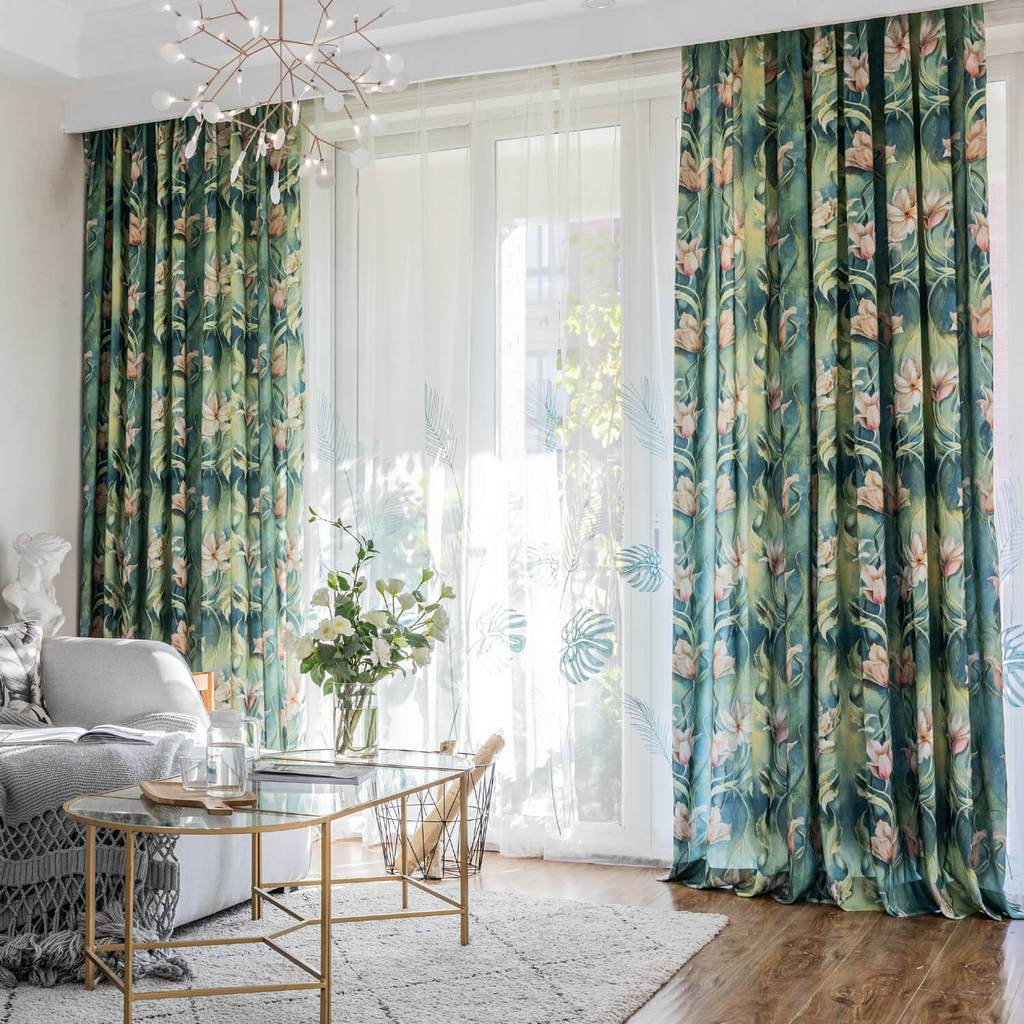 Beautiful Flowers Green Rainforest Curtains Art Painting Drapes Anady Top