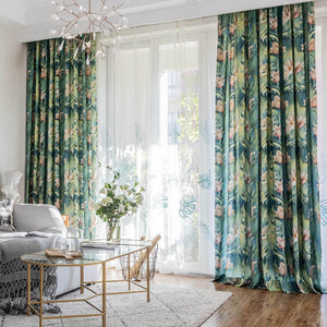 Pink flower green rainforest curtains art painting drapes for living room