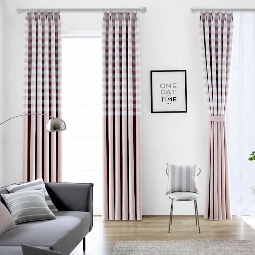 Blackout Pink Curtains for Bedroom Grid Geometric Drapes 2 Panels - Anady Top Space Design