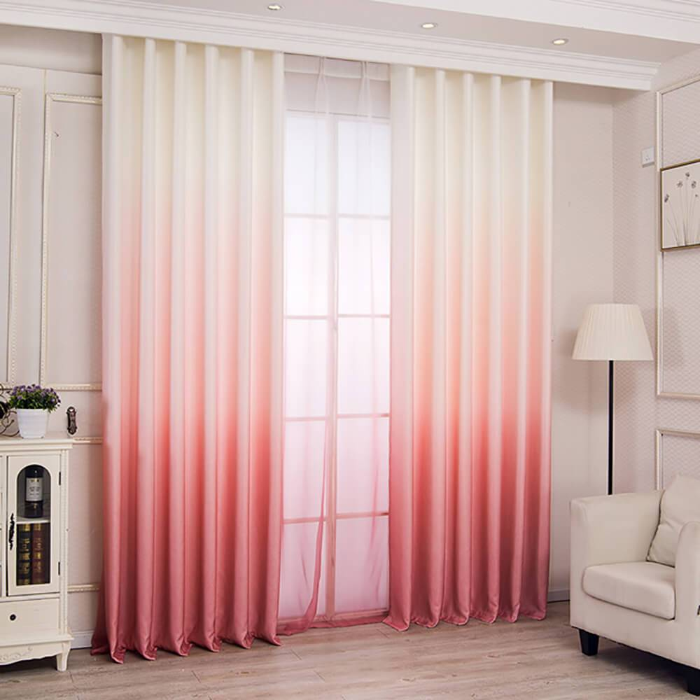 Modern 3D Print Pink Ombre Curtains Custom Drapes For Living Room Grommet Top / 2P(42W 63L)