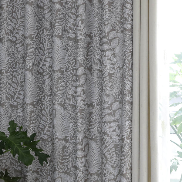 Gray/Grey Tan Blackout Curtains Leaf Drapes For Bedroom 1