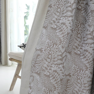 Gray/Grey Tan Blackout Curtains Leaf Drapes for Bedroom 1 Set of 2 Panels - Anady Top Space Design